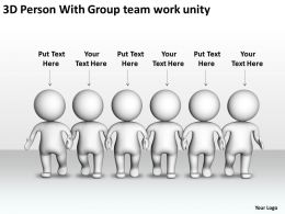 3D Person With Group team work unity Ppt Graphic Icon