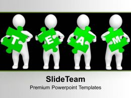 3d Persons Green Puzzle Pieces Team PowerPoint Templates PPT Themes And Graphics 0213