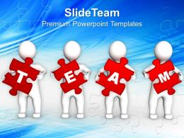 3d Persons Holding Red Puzzle Pieces Powerpoint Templates Ppt Themes And Graphics 0113