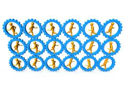 3d Persons Running Inside The Gears Stock Photo