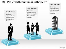 3D Plate With Business Silhouette Powerpoint Template Slide