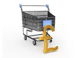 3D Pound With Shopping Cart Graphic With White Background Stock Photo