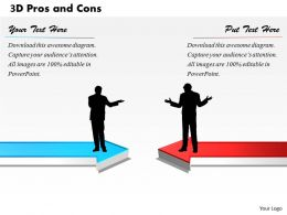3D Pros And Cons PowerPoint Template Slide