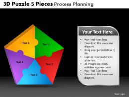 3D Puzzle 5 Pieces Process Planning Powerpoint Slides And Ppt Templates DB