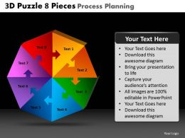 3D Puzzle 8 Pieces Process Planning Powerpoint Slides And Ppt Templates DB
