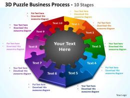 3d puzzle business process 10 stages powerpoint templates graphics slides 0712