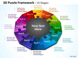 3d puzzle framework 12 stages powerpoint templates graphics slides 0712