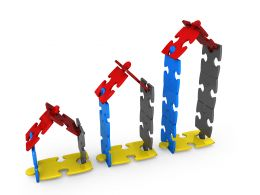 3D Puzzle Huts Showing Concept Of Growth In Property Value Stock Photo