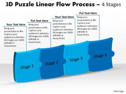 3D Puzzle Linear Flow Process 4 Stages