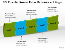 3D Puzzle Linear Flow Process 5 Stages