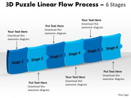 3D Puzzle Linear Flow Process 6 Stages
