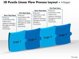 3D Puzzle Linear Flow Process Layout 4 Stages Customer Tech Support Powerpoint Slides