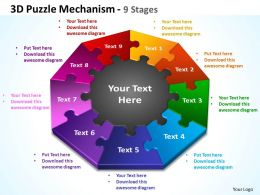 3d puzzle mechanism 9 stages powerpoint templates graphics slides 0712