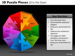3D Puzzle Pieces 10 In Pie Chart Powerpoint Slides And Ppt Templates DB
