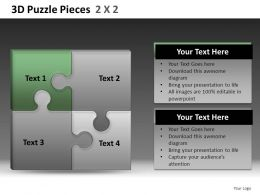 3D Puzzle Pieces 2X2 Powerpoint Presentation Slides DB