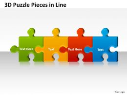 3D Puzzle Pieces in Line