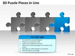 3D Puzzle Pieces in Line