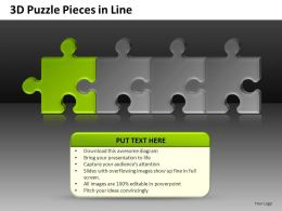 3D Puzzle Pieces In Line Powerpoint Presentation Slides DB