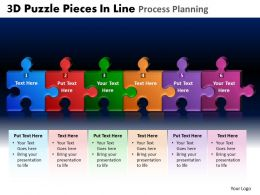 3D Puzzle Pieces In Line Process Planning Powerpoint Slides And Ppt Templates DB