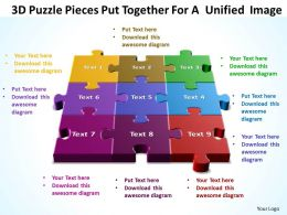 3D Puzzle Pieces Put Together For A  Unified  Image Templates ppt presentation slides 812
