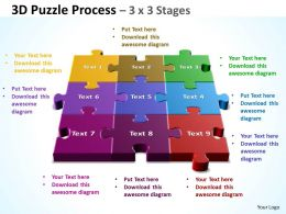 3D Puzzle Process 3 X 3 Stages