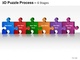 3D Puzzle Process 6 Stages Powerpoint Presentation Slides