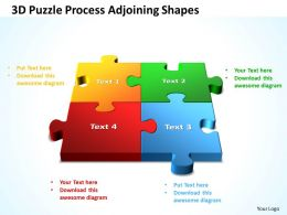 3D Puzzle Process Adjoining Shapes Powerpoint Templates ppt presentation slides 812