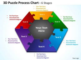 3d puzzle process chart 6 stages powerpoint templates graphics slides 0712