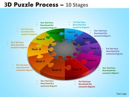 3D Puzzle Process Diagram 10 Stages Powerpoint Slides And Ppt Templates 0412 9