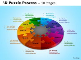 3D Puzzle Process Diagram 10 Stages Ppt Templates 2