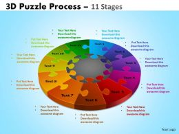 3D Puzzle Process Diagram 11 Stages Powerpoint Slides And Ppt Templates 0412