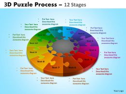 3D Puzzle Process Diagram 12 Stages Powerpoint Slides And Ppt Templates 0412