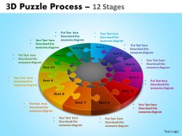 3D Puzzle Process Diagram 12 Stages Ppt Templates 2