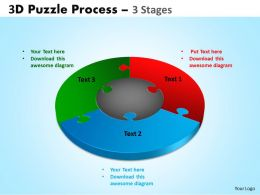 3D Puzzle Process Diagram 3 Stages templates Powerpoint Slides And Ppt Templates 6