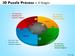 3D Puzzle Process Diagram 4 Stages Powerpoint Slides And Ppt Templates 0412