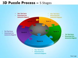 3D Puzzle Process Diagram 5 Stages Ppt Templates 2