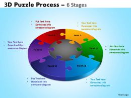 3D Puzzle Process Diagram 6 Stages Templates 2