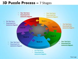 3D Puzzle Process Diagram 7 Stages Powerpoint Slides And Ppt Templates 0412