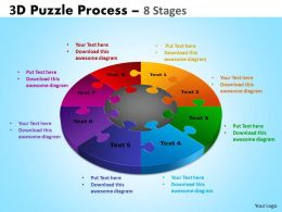 3D Puzzle Process Diagram 8 Stages Powerpoint Slides And Ppt Templates 0412 11