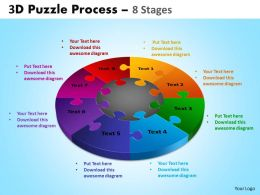 3D Puzzle Process Diagram 8 Stages Templates 3