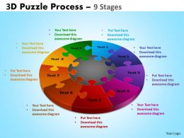 3D Puzzle Process Diagram 9 Stages Powerpoint Slides And Ppt Templates 0412