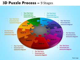 3D Puzzle Process Diagram 9 Stages Templates 2