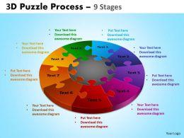 3D Puzzle Process Diagram 9 Stages Templates 2