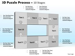 3D puzzle process stages 10 powerpoint slides and ppt templates 0412
