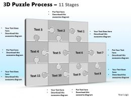 3D puzzle process stages 11 powerpoint slides and ppt templates 0412