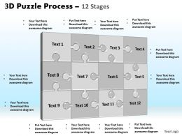 3D puzzle process stages 12 powerpoint slides and ppt templates 0412
