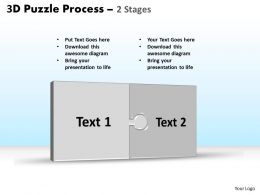 3D puzzle process stages 2 powerpoint slides and ppt templates 0412