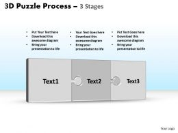 3D puzzle process stages 3 powerpoint slides and ppt templates 0412