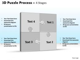 3D puzzle process stages 4 powerpoint slides and ppt templates 0412