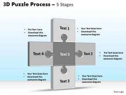 3D puzzle process stages 5 powerpoint slides and ppt templates 0412